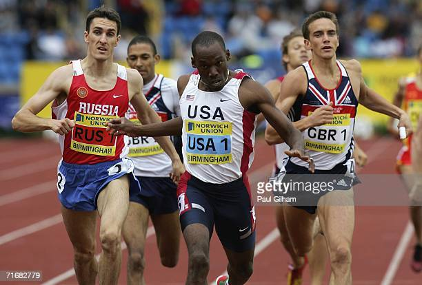 Khadevis Robinson of Unites States crosses the finish line to win the Men's 800 Metres Race from Dmitriy Bogdanov of Russia and Sam Ellis of Great...