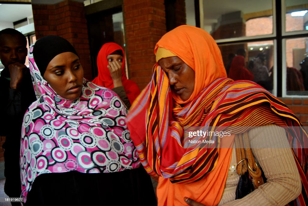 Khadija Denge wife of police officer Corporal Nura Ali who was shot at the Westgate Mall while helping victims on September 25 2013 in Nairobi Kenya...
