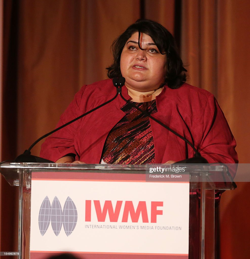 Khadija Ismayilivova speaks during the 2012 International Women's Media Foundation's Courage In Journalism Awards at The Beverly Hills Hotel on October 29, 2012 in Beverly Hills, California.