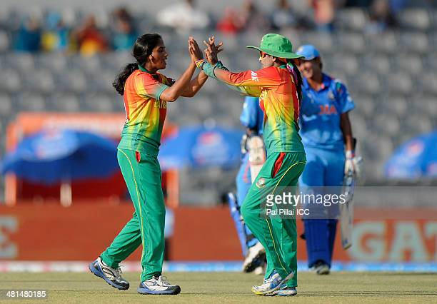 Khadija Tul Kubra of Bangladesh celebrates the wicket of Mithali Raj captain of India during the ICC Women's World Twenty20 match between Bangladesh...