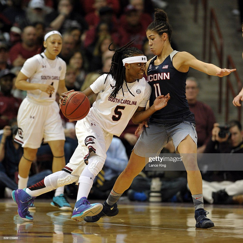 Khadijah Sessions #5 of the South Carolina Gamecocks drives against Kia Nurse #11 of the Connecticut Huskies at Colonial Life Arena on February 8, 2016 in Columbia, South Carolina. UConn defeated South Carolina 66-54.
