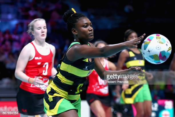 Khadijah Williams of Jamaica passes the ball during the Fast5 World Series Netball match between Jamaica and England at Hisense Arena on October 29...
