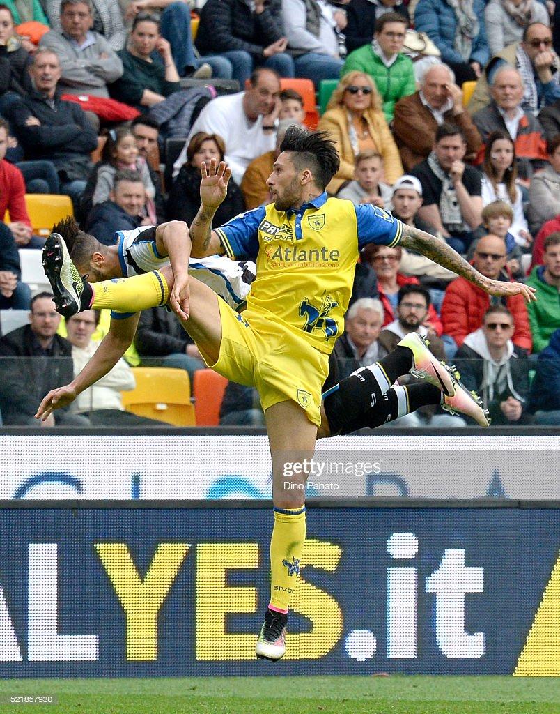 Khadim Ali Adnan of Udinese Calcio battles with Lucas Nahuel Castro of Chievo Verona during the Serie A match between Udinese Calcio and AC Chievo...