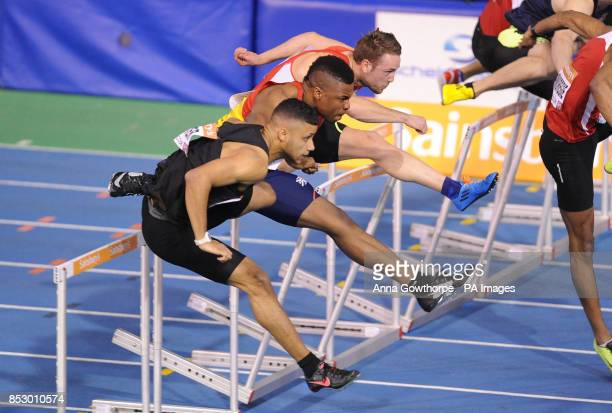 Khai RileyLaborde in action in the Men's 60m Hurdle heats during day one of the British Athletics Indoor Championships at the English Institute of...