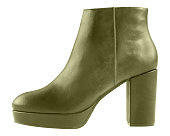 Khaki woman winter leather ankle platform thick heels boots isolated on white