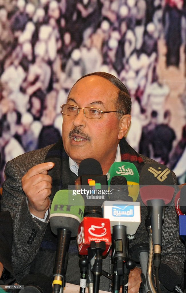 Khaled Abu Majeed, a spokesman of one of the Palestinian factions, speaks during a press conference in the Syrian capital Damascus on January 8, 2012. The representatives of Palestinian factions, those with close ties to the Syrian regime, have called for demilitarizing of the Yarmouk refugee camp.