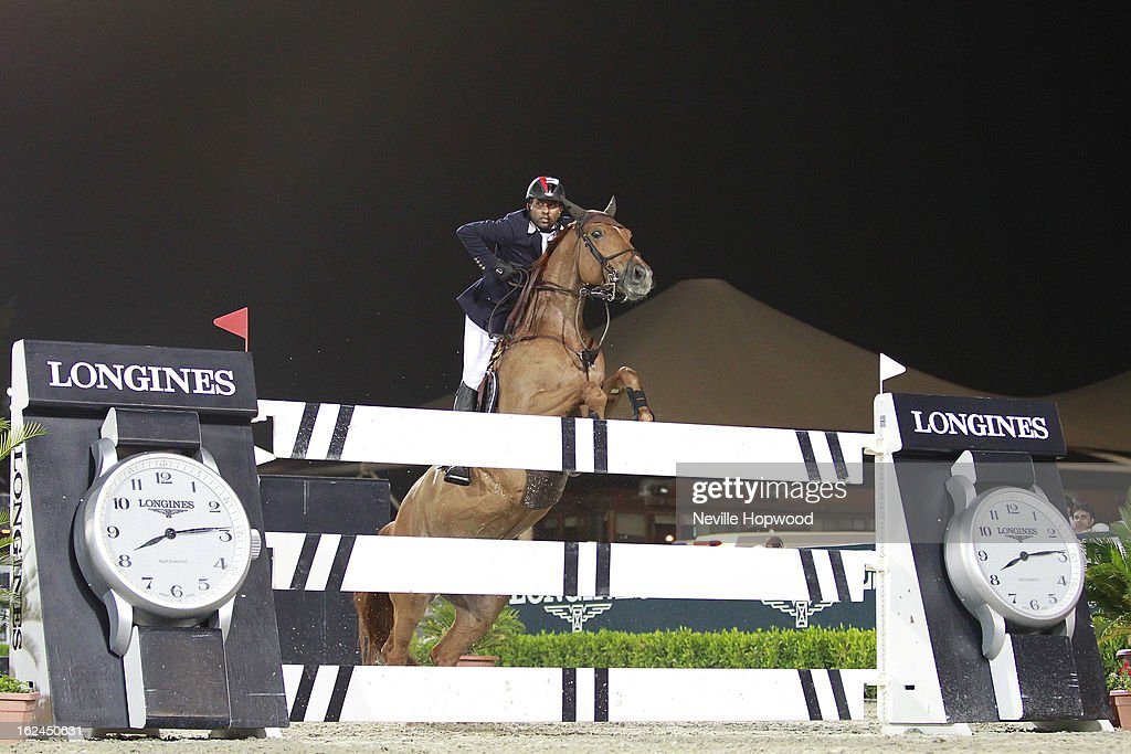 Khaled Al Junaibi of the United Arab Emirates rides Taenzerin during the President of the UAE Showjumping Cup - Furusiyyah Nations Cup Series presented by Longines on February 23, 2013 in Al Ain, United Arab Emirates.