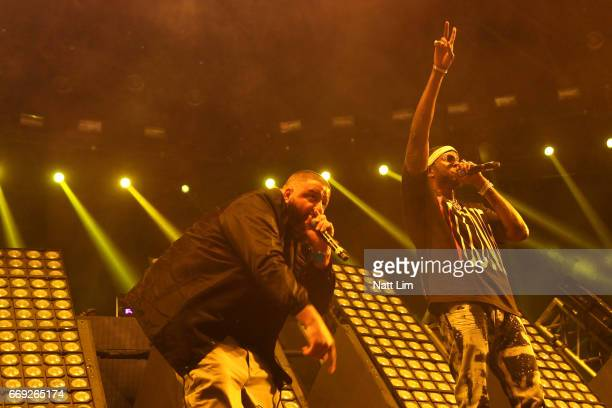 Khaled and 2 Chainz performs in the Sahara Tent during day 3 of the Coachella Valley Music And Arts Festival at the Empire Polo Club on April 16 2017...