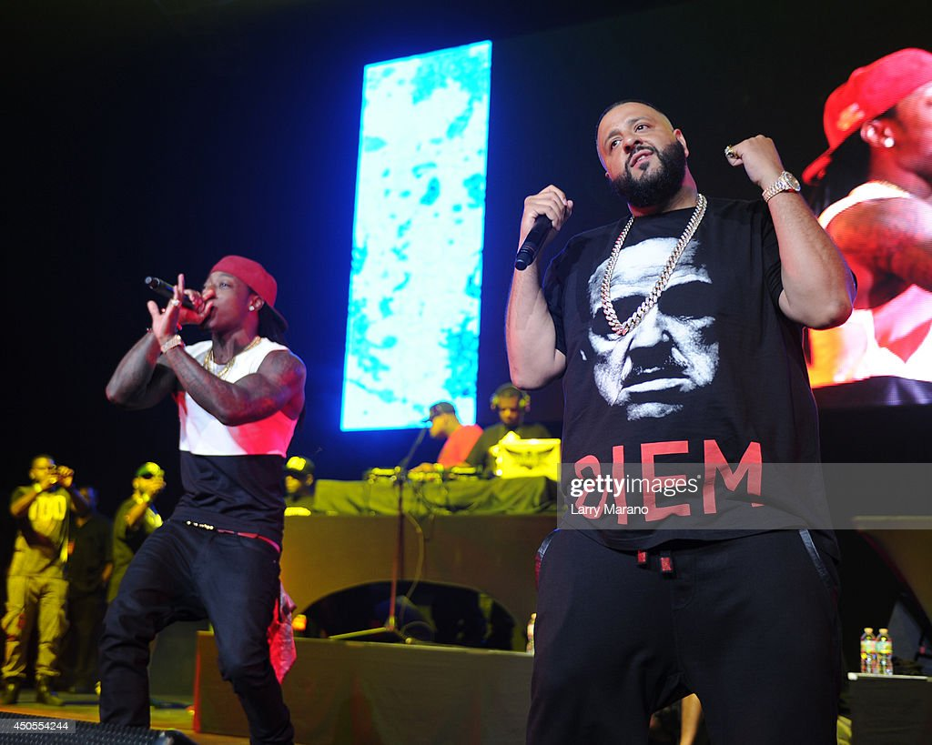 <a gi-track='captionPersonalityLinkClicked' href=/galleries/search?phrase=DJ+Khaled&family=editorial&specificpeople=577862 ng-click='$event.stopPropagation()'>DJ Khaled</a> and <a gi-track='captionPersonalityLinkClicked' href=/galleries/search?phrase=Ace+Hood&family=editorial&specificpeople=5299065 ng-click='$event.stopPropagation()'>Ace Hood</a> perform during the 103.5 The Beat Down concert at BB&T Center on June 12, 2014 in Sunrise, Florida.
