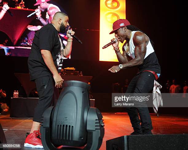 Khaled and Ace Hood perform during the 1035 The Beat Down concert at BBT Center on June 12 2014 in Sunrise Florida