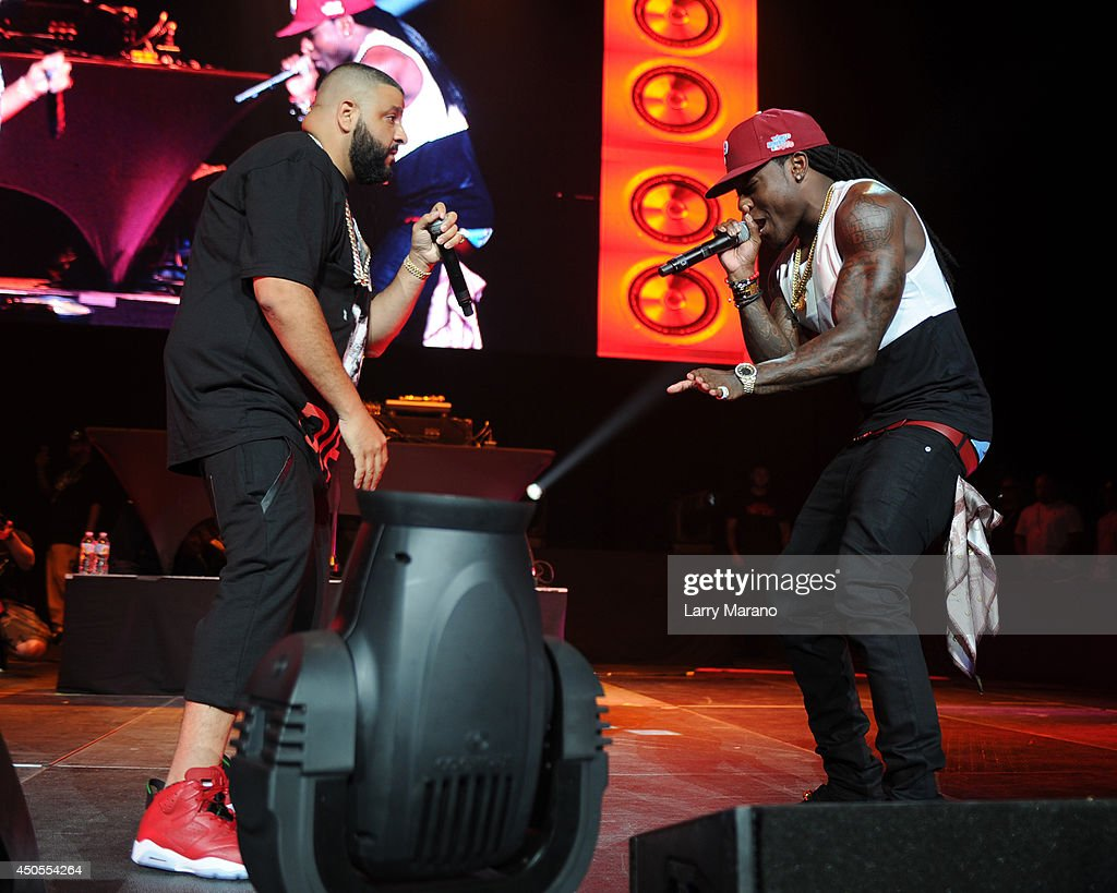 DJ Khaled and Ace Hood perform during the 103.5 The Beat Down concert at BB&T Center on June 12, 2014 in Sunrise, Florida.
