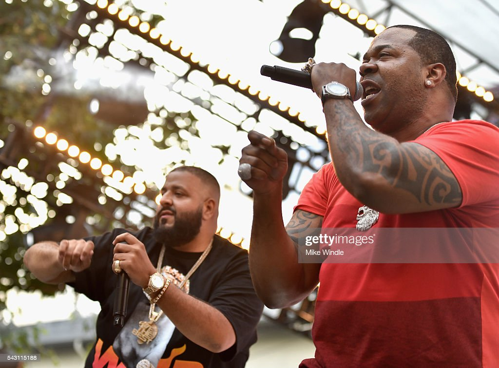 DJ Khaled (L) and Busta Rhymes perform onstage at EpicFest 2016 hosted by L.A. Reid and Epic Records at Sony Studios on June 25, 2016 in Los Angeles, California.