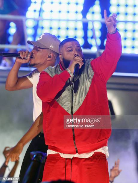 Khaled and Chance the Rapper perform onstage at 2017 BET Awards at Microsoft Theater on June 25 2017 in Los Angeles California