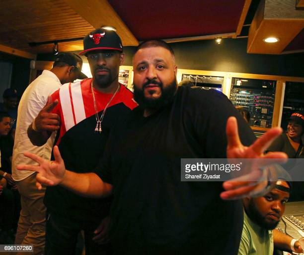 Khaled and DJ Clue attend DJ Khaled 'Grateful' private listening event at Premier Studios on June 14 2017 in New York City