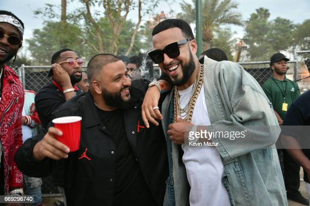 Khaled and French Montana during day 3 of the Coachella Valley Music And Arts Festival at the Empire Polo Club on April 16 2017 in Indio California