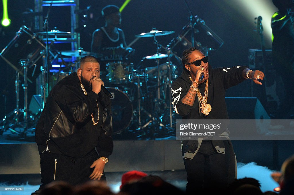 DJ Khaled (L) and Future perform onstage at the BET Hip Hop Awards 2013 at Boisfeuillet Jones Atlanta Civic Center on September 28, 2013 in Atlanta, Georgia.