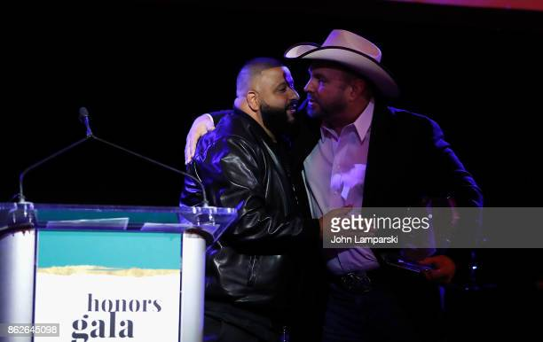 Khaled and Garth Brooks attend TJ Martell 42nd Annual New York Honors Gala at Guastavino's on October 17 2017 in New York City