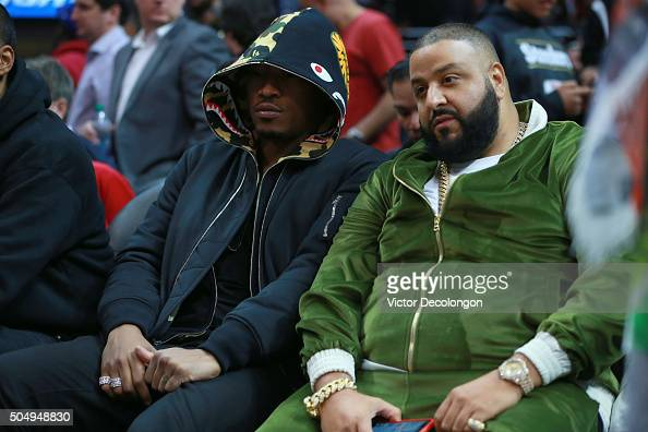Khaled and hiphop artist Future attend the NBA game between the Miami Heat and the Los Angeles Clippers at Staples Center on January 13 2016 in Los...