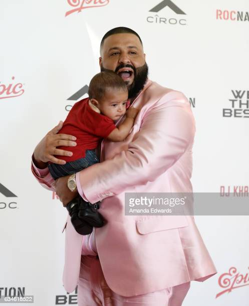 Khaled and his son Asahd Tuck Khaled attend DJ Khaled's special press conference where he announced the title of his new album is going to be...