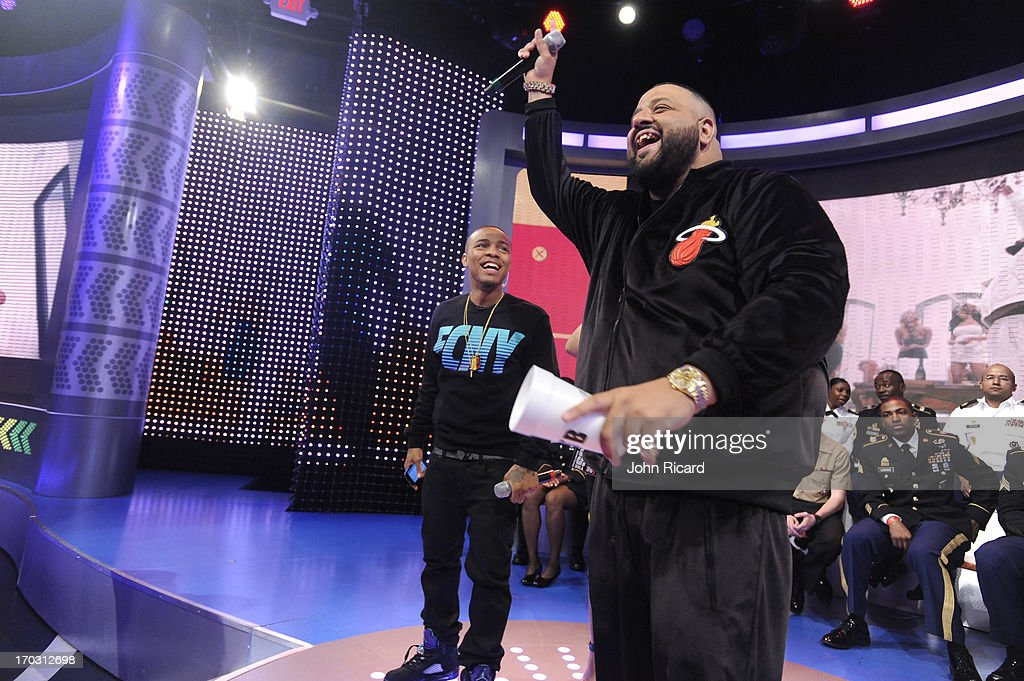 DJ Khaled and host Bow Wow at BET's '106 & Park' at BET Studios on June 10, 2013 in New York City.