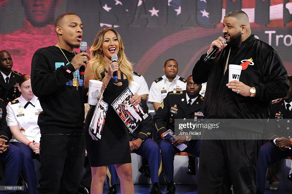 DJ Khaled and hosts Bow Wow and Adrienne Bailon at BET's '106 & Park' at BET Studios on June 10, 2013 in New York City.