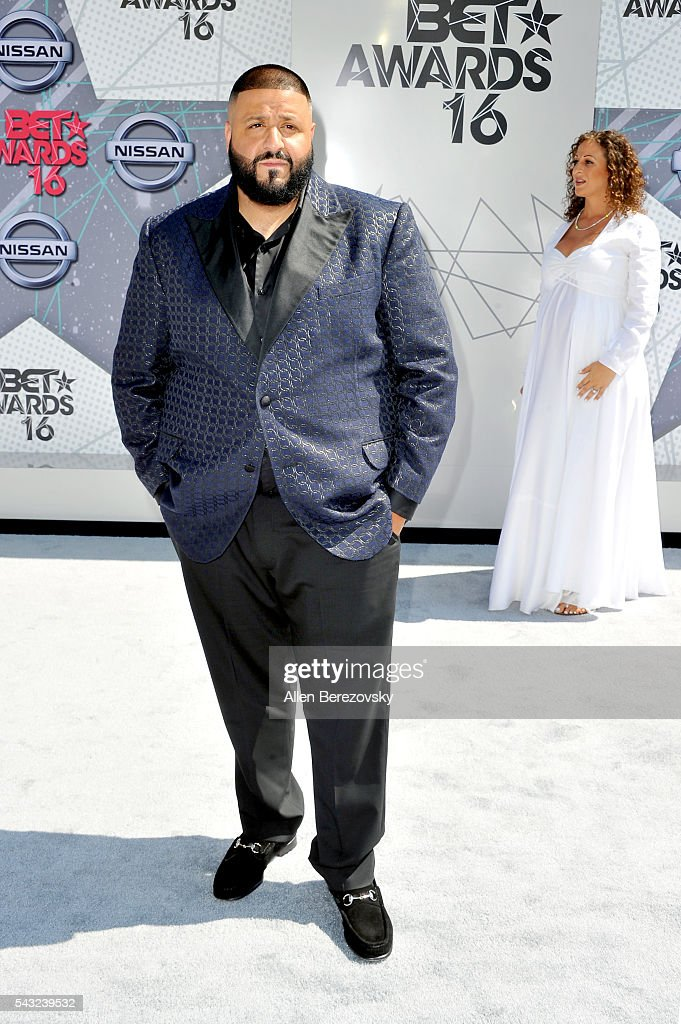 <a gi-track='captionPersonalityLinkClicked' href=/galleries/search?phrase=DJ+Khaled&family=editorial&specificpeople=577862 ng-click='$event.stopPropagation()'>DJ Khaled</a> (L) and Nicole Tuck attend the 2016 BET Awards at Microsoft Theater on June 26, 2016 in Los Angeles, California.