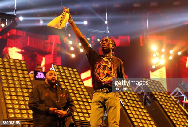 Khaled and Quavo perform in the Sahara Tent during day 3 of the Coachella Valley Music And Arts Festival at the Empire Polo Club on April 16 2017 in...