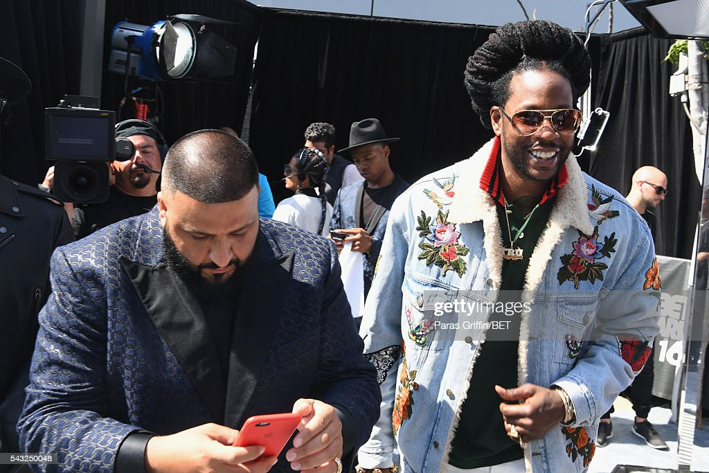 <a gi-track='captionPersonalityLinkClicked' href=/galleries/search?phrase=DJ+Khaled&family=editorial&specificpeople=577862 ng-click='$event.stopPropagation()'>DJ Khaled</a> (L) and rapper <a gi-track='captionPersonalityLinkClicked' href=/galleries/search?phrase=2+Chainz&family=editorial&specificpeople=8559144 ng-click='$event.stopPropagation()'>2 Chainz</a> attend the 2016 BET Awards at the Microsoft Theater on June 26, 2016 in Los Angeles, California.