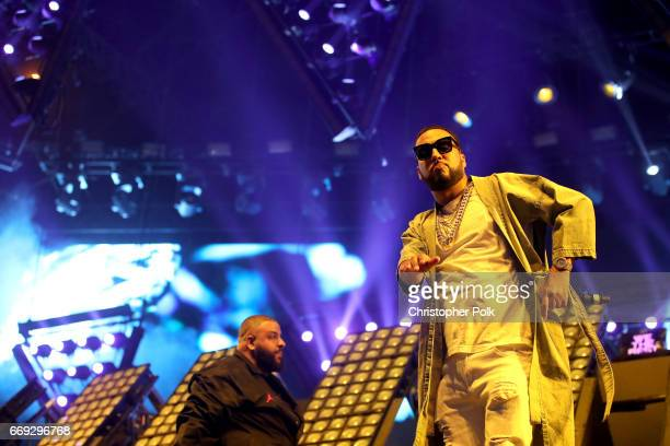Khaled and rapper French Montana perform on the Sahara stage during day 3 of the Coachella Valley Music And Arts Festival at the Empire Polo Club on...