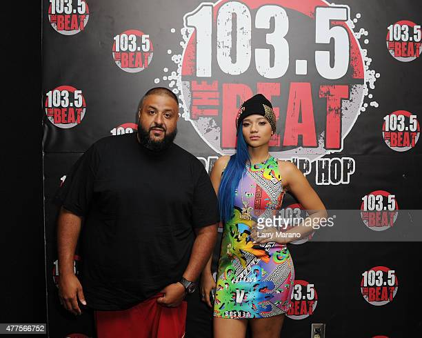 DJ Khaled and Steph Lecor visit Radio Station 1035 The Beat on June 17 2015 in Miami Florida