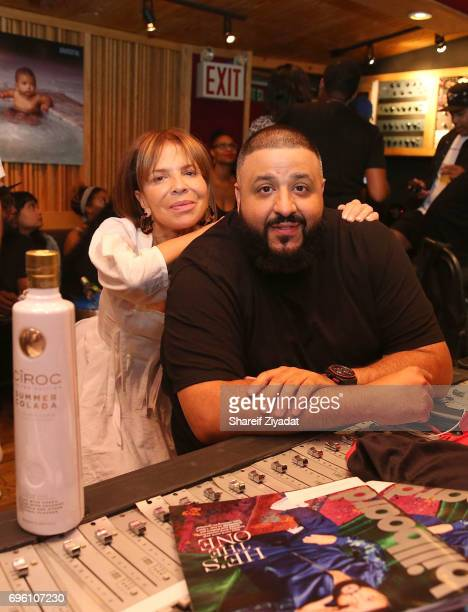 Khaled and Sylvia Rhone attend DJ Khaled 'Grateful' private listening event at Premier Studios on June 14 2017 in New York City