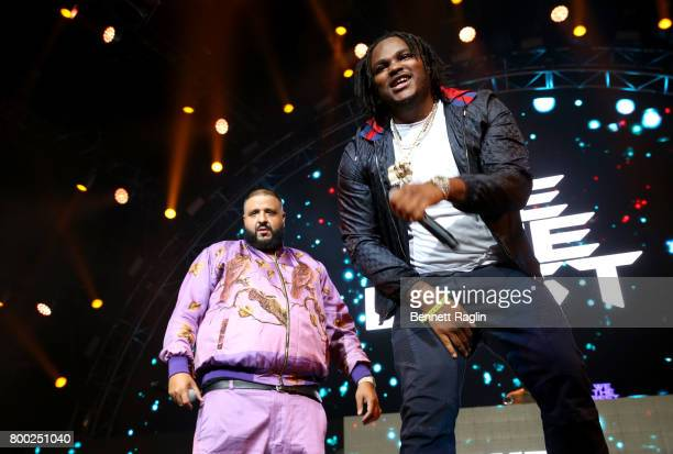 Khaled and Tee Grizzley perform onstage at night two of the STAPLES Center Concert presented by CocaCola during the 2017 BET Experience at LA Live on...