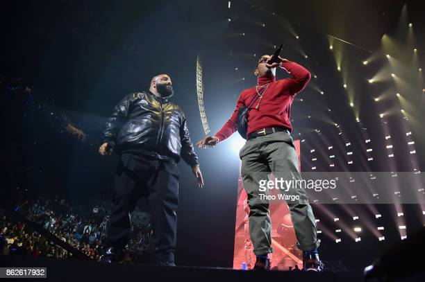 Khaled and TI perform onstage during TIDAL X Brooklyn at Barclays Center of Brooklyn on October 17 2017 in New York City