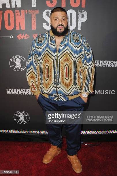 Khaled arrives at the Los Angeles Premiere Of 'Can't Stop Won't Stop' at Writers Guild of America West on June 21 2017 in Los Angeles California