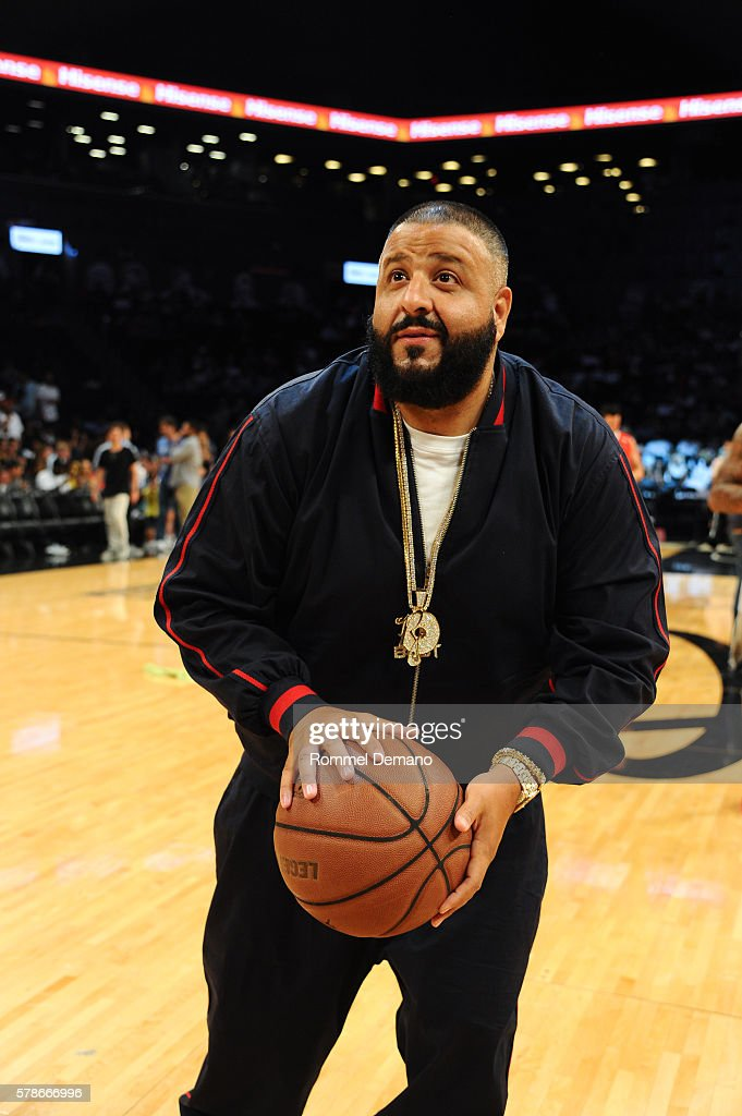 Khaled attends 2016 Roc Nation Summer Classic Charity Basketball Tournament at Barclays Center of Brooklyn on July 21 2016 in the Brooklyn borough of...
