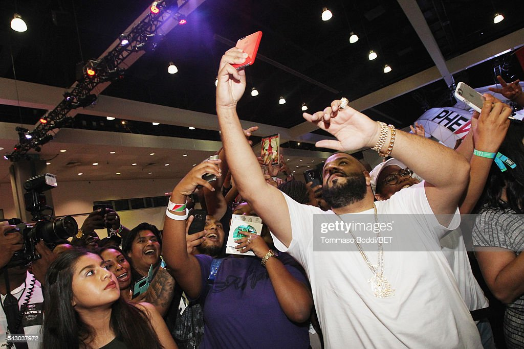 <a gi-track='captionPersonalityLinkClicked' href=/galleries/search?phrase=DJ+Khaled&family=editorial&specificpeople=577862 ng-click='$event.stopPropagation()'>DJ Khaled</a> attends the Coke music studio during the 2016 BET Experience on June 25, 2016 in Los Angeles, California.