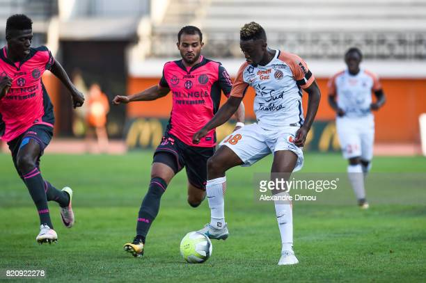 Khaled Ayari of Toulouse and Isaac Mbenza of Montpellier during the friendly match between Montpellier Herault and Toulouse Fc on July 22 2017 in...