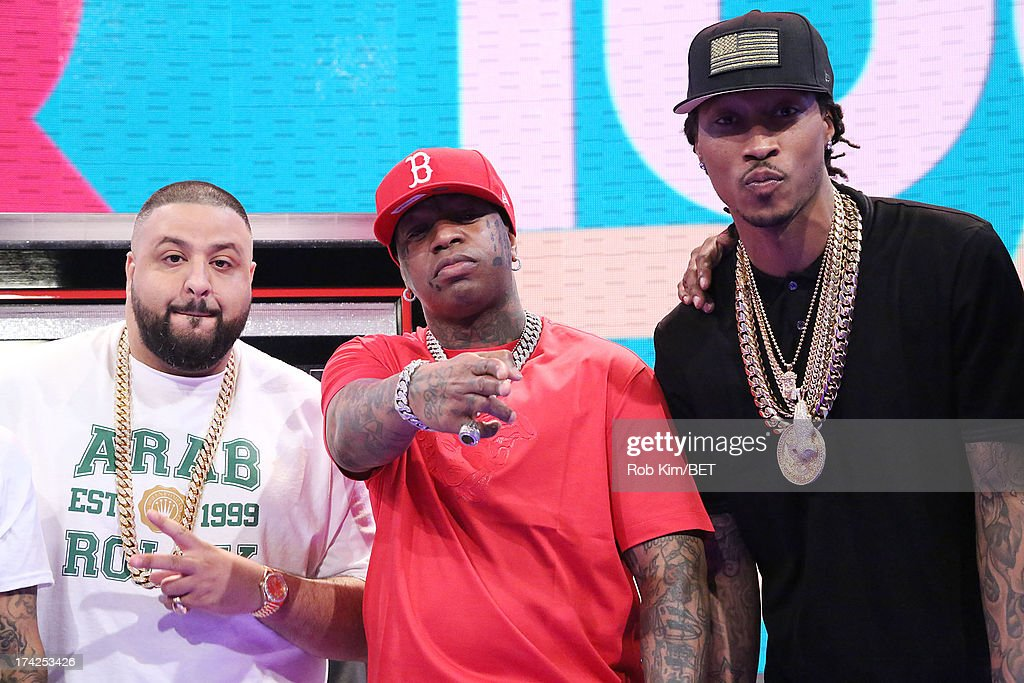 <a gi-track='captionPersonalityLinkClicked' href=/galleries/search?phrase=DJ+Khaled&family=editorial&specificpeople=577862 ng-click='$event.stopPropagation()'>DJ Khaled</a>, Birdman and Future at BET's 106 and Park at BET Studios on July 22, 2013 in New York City.
