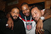 Khaled Busta Rhymes and Elliot Wilson CEO Rap Radar attend the Major Key Listening Session at Premiere Recording Studio on July 20 2016 in New York...