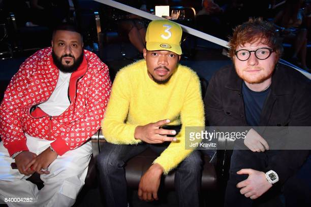 Khaled Chance The Rapper and Ed Sheeran pose together during the 2017 MTV Video Music Awards at The Forum on August 27 2017 in Inglewood California