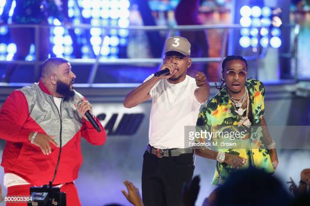 DJ Khaled Chance The Rapper and Quavo of Migos perform onstage at 2017 BET Awards at Microsoft Theater on June 25 2017 in Los Angeles California