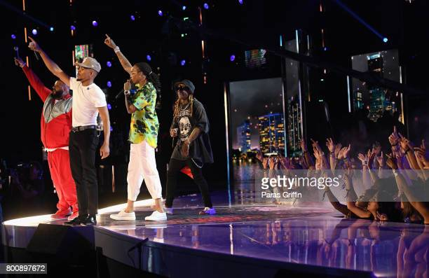 DJ Khaled Chance The Rapper Quavo Lil Wayne perform onstage at 2017 BET Awards at Microsoft Theater on June 25 2017 in Los Angeles California