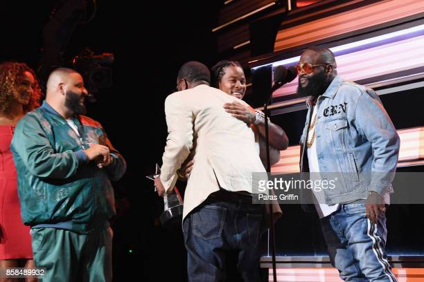 Khaled Devonta Freeman Uncle Luke and Rick Ross speak onstage during the BET Hip Hop Awards 2017 at The Fillmore Miami Beach at the Jackie Gleason...