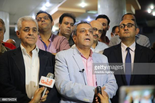 Khaled ElBalshy the head of the Freedom Committee of the Journalists' Syndicate speaks to media as he attends a protest that staged against approval...