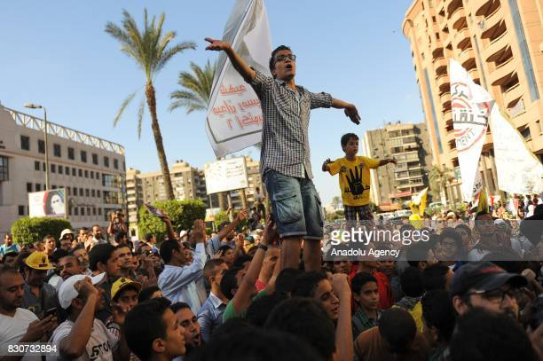 Khaled Elmasry chants slogans during a demonstration in Cairo Egypt on October 18 2013 Khaled Elmasry a revolutionary young Egyptian who had to flee...