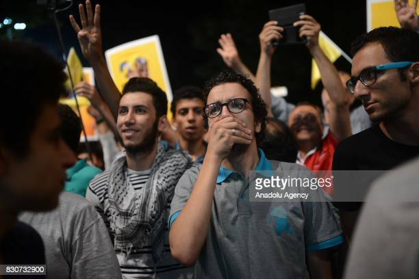Khaled Elmasry is seen during a demonstration in Istanbul Turkey on August 13 2015 Khaled Elmasry a revolutionary young Egyptian who had to flee from...
