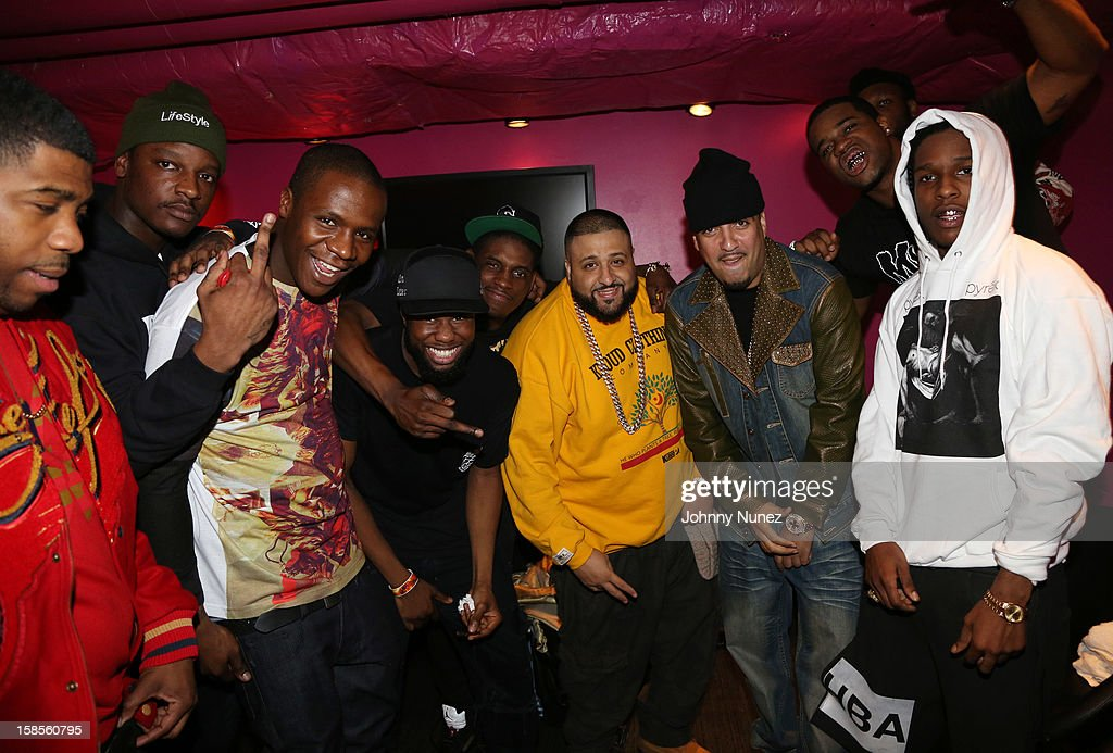 DJ Khaled (4th R), French Montana (3rd R), A$AP Rocky (R), and A$AP Mob attend 'T.I. In Concert' at Best Buy Theater on December 18, 2012 in New York, United States.