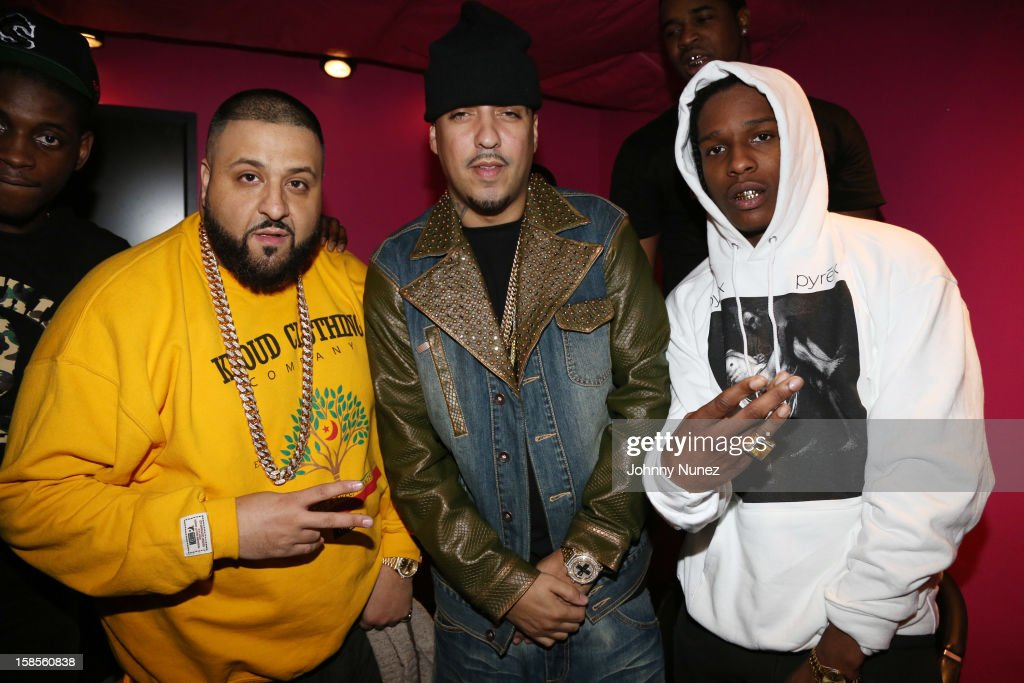 DJ Khaled, French Montana, and A$AP Rocky attend 'T.I. In Concert' at Best Buy Theater on December 18, 2012 in New York, United States.