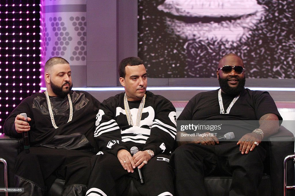 DJ Khaled, French Montana, and Rick Ross visit 106 & Parkat BET studio on March 3, 2014 in New York City.