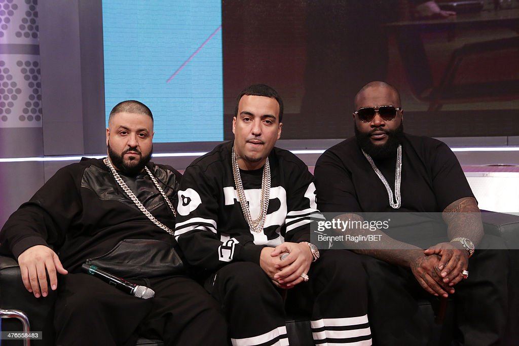 <a gi-track='captionPersonalityLinkClicked' href=/galleries/search?phrase=DJ+Khaled&family=editorial&specificpeople=577862 ng-click='$event.stopPropagation()'>DJ Khaled</a>, <a gi-track='captionPersonalityLinkClicked' href=/galleries/search?phrase=French+Montana&family=editorial&specificpeople=7131467 ng-click='$event.stopPropagation()'>French Montana</a>, and Rick Ross visit 106 & Parkat BET studio on March 3, 2014 in New York City.